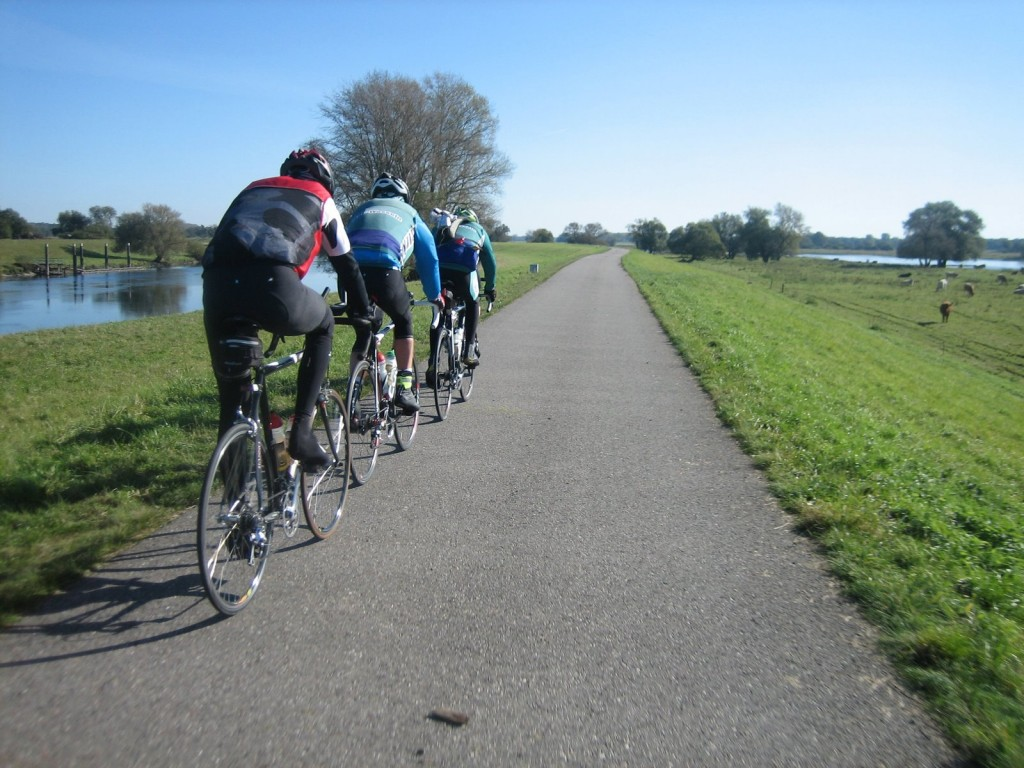 Auf dem Deich zwischen Havel (links) und Elbe
